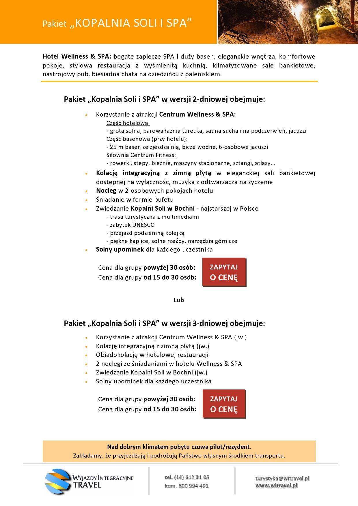 WI Travel - Pakiet Kopalnia Soli i SPA